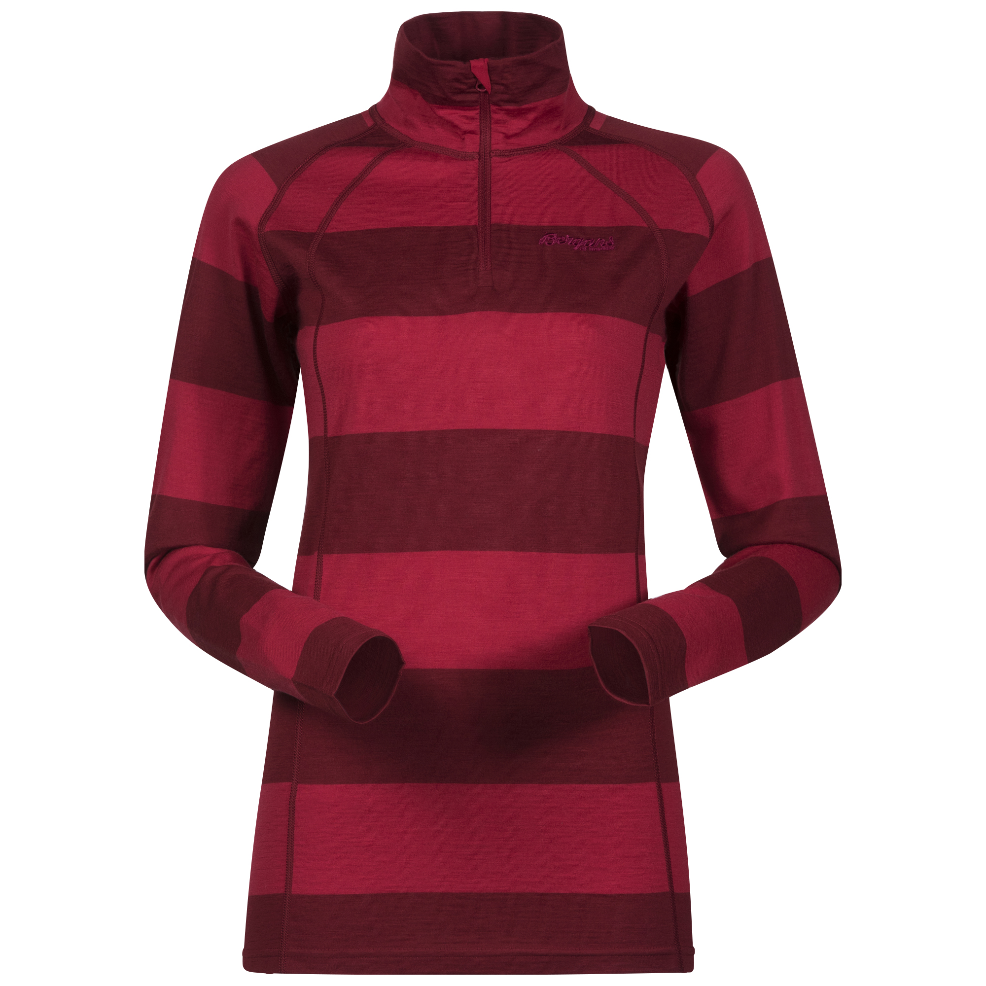 182512 Fjellrapp Lady Half Zip Red/Burgundy Striped